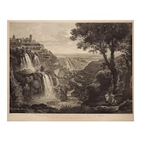 The Principal View of the Large and Small Cascades at Tivoli after Gmelin Framed Engraving