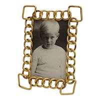 Small Brass Ring Frame Vertical Easel Stand Miniature