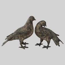 Pair Japanese Cast Iron Dove Pigeon Bird - 20th Century, Japan