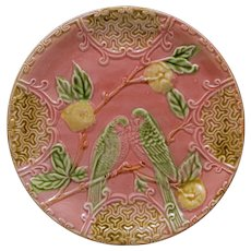 Parakeet Antique French Salins Majolica Pink Plate Barbotine - circa 19th Century, France