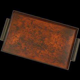 Faux Tortoise Shell Lacquerware Tray Rectangular Handled