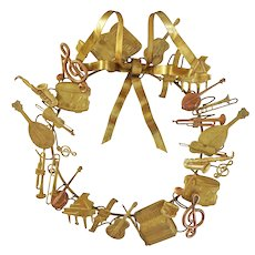Petit Choses Dresden Brass Wreath Musical All Season Holiday Door Ornament 10""