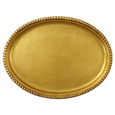 "Gold Leaf Wood Large 16 1/4"" Oval Tray Florence Italy"