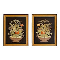 Pair Japanese Embroidered Panels Pictures Framed Flower Basket Ikebana - circa early 20th Century, Japan