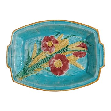 Old Wedgwood Majolica Serving Platter 3061 W Corn Wheat Flowers - c. 1880's, England