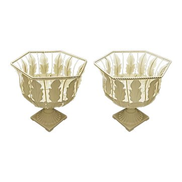 Pair Tole Acanthus Leaves Twisted Wire  Urn Shape Planters Cachepot Jardiniere Painted Metal Cream Off White