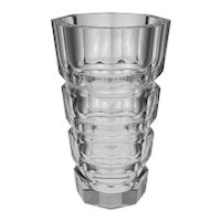 Art Deco Style Octagonal Faceted Vase Clear Crystal Glass