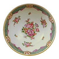 "8"" French Samson Chinese Export Lowestoft Style Porcelain Bowl Square Fret Mark - 20th Century, France"