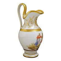 Old Paris French Empire Dancing Couple HP Porcelain Gilded Pitcher 8 Fl. Oz. - 19th Century, France
