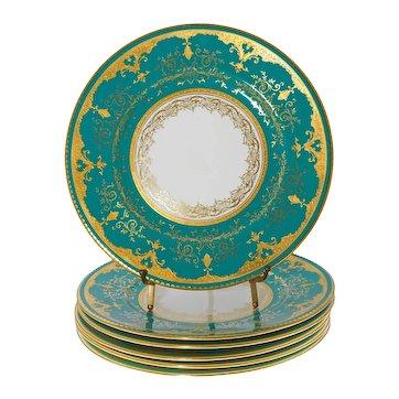 Set Six Art Deco Coalport Cobalt Gilt Teal Gold Wall Cabinet Plates 5351 / 19 - circa 1920, England