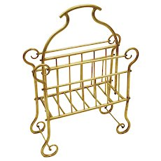 Brass Canterbury Stand Magazine Rack Curves and Spindles
