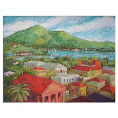 St Thomas Harbor and Rooftops Framed Painting Ira Harrington Smith - 20th Century, US Virgin Islands