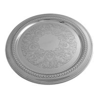 Silver Plate 15'' Round Serving Tray Drinks Barware - 20th Century, USA