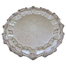 Silver on Copper Round Serving Tray Drinks Barware - 20th Century, USA