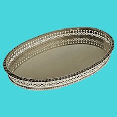 English Sheffield Oval Gallery Tray Silver Plate - 20th Century, England
