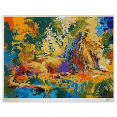 Resting Lion Signed Color Serigraph Framed Limited Edition Wayland Moore - 20th Century, USA