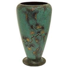 Art Deco WMF Ikora Verdigris Metal Vase Tall Large - circa 1930's, Germany