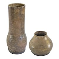 Pair Glazed Pottery Vases Silver Taupe Bronze Patina - 20th Century, USA