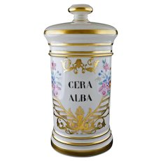 French Pharmacy Canister Porcelain Lidded Pot Cera Alba Bee's Wax Container - 20th Century, France