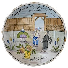 French Faience Wall Plate Country Provence Garden Jardin France