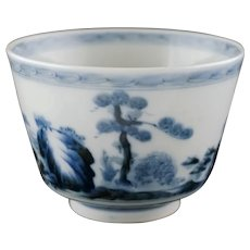 Chinese Blue White Porcelain Footed Bowl Signed 5 Character Mark