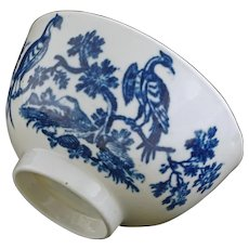 Dr Wall Worcester Chinoiserie Birds Tea Cup Crescent Moon Mark - Pre 1783, England
