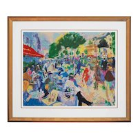 Cafe Fouquet Serigraph Signed Leroy Neiman Matted Framed Paris Champs Elysees - 20th Century, USA