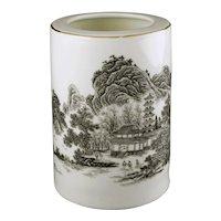 Chinese Porcelain Brush Pot Landscape Calligraphy Red Seal Mark Jingdezhen - post 1970, China