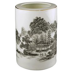 Chinese Porcelain Brush Pot Landscape Calligraphy Red Seal Mark Jingdezhen - post 1970, China