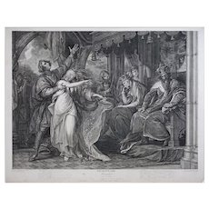 Antique Stipple Engraving Shakespeare Hamlet Ophelia - 19th Century, England