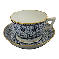 Antique Mintons Transferware Cup Saucer Blue White Gilt S 4024 - post 1871 mark, England