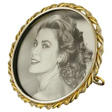 Circular Twisted Brass Wire Picture Photo Frame Round Easel Stand Ring Mixed Metal - circa 19th Century, England