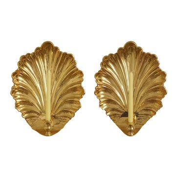 Pair Large Mottahedeh Wall Sconces Brass Shell Bronze Candle Appliques Fixtures Vintage