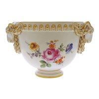 Meissen Ram Head Cachepot Planter Flower Pot Porcelain Garden White Gilt Classic Empire Crossed Swords - post 1815 mark, Germany