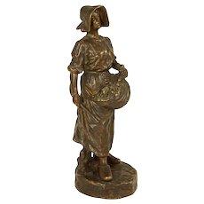 French Bronze Sculpture Female Woman Harvest Figure Signed J Garnier Number 158