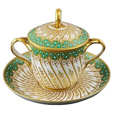 Copeland for Tiffany & Co. New York Jeweled Lidded Cup Saucer 8319 Beaded Gilt Cabinet Porcelain - circa 1895, England