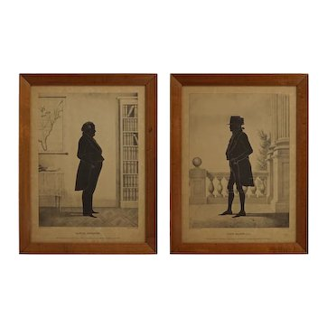 Pair Antique Historical Silhouettes John Marshall & Samuel Webster Lithograph Portrait Full Length Brown Framed Americana - 1844, USA