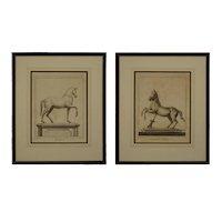 Pair Ercolano Antiquities Bronze Horse Monument Engravings Nolli after Casanova - circa 18th Century, Italy