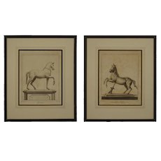 Pair Ercolano Antiquities Bronze Horse Monument Engravings Nolli after Casanova - circa 18th Century, Italy