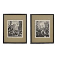Pair Hogarth Beer Street and Gin Lane Matted Framed Engravings - circa 19th C., England