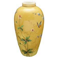 Harrach Style Cased Art Glass Vase Enamel Painted Wildflowers Butterflies - circa 1900, Bohemia