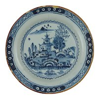 English Delft Plate Chinoiserie Pagoda Willows Water Blue White Manganese Rim Tin Glazed - 18th Century, England
