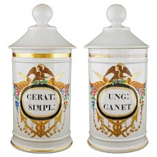 Pair French Pharmacy Apothecary Jars Lidded Canisters Porcelain A Collin Paris Aesculapius Medicine Healing Spa - 19th Century, France