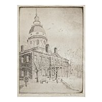 Annapolis State House Etching Signed Don Swann Limited Edition Framed - 20th Century, USA