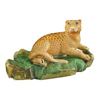 Jacob Petit Leopard Model Figurine Antique Porcelain Signed Mark - 19th Century, France