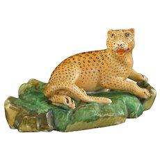 Jacob Petit Leopard Model Figurine Antique Porcelain Signed Mark - 19th Century, France