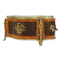 Napoleon III Style French Jardiniere Cachepot Flower Box Exotic Wood Inlaid Brass Boulle Planter Zinc Liner Large - 19th Century, France