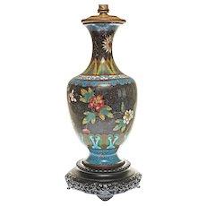 Cloisonne Table Lamp Base Black Turquoise Floral