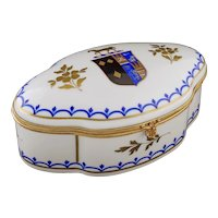 Armorial Heraldic Snuff  / Trinket Box Casket Porcelain Ormolu Brass Bronze Mount Serpentine Large Blue Gold Horse