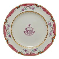 Armorial Plate Fides Probata Coronat Spode Copeland New Stone Y 1880 Chinese Export Style - c. 1890-1910, England